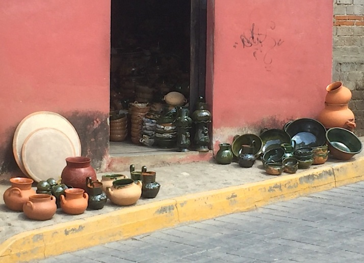 Green glazed pottery