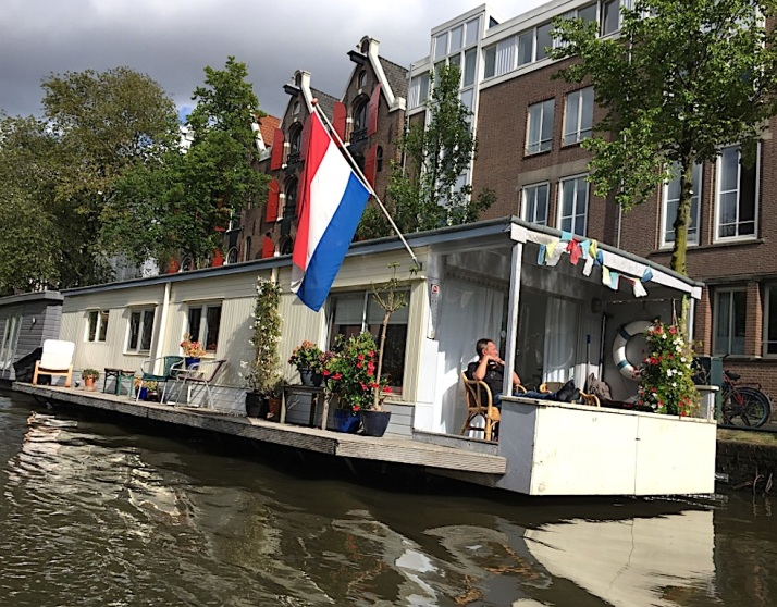 Houseboat with flag